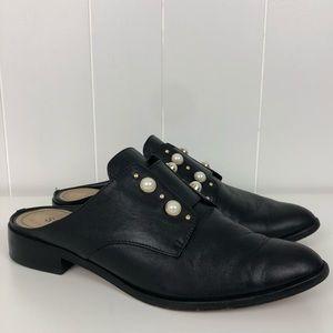 Schutz Black Leather Faux Pearl Embellished Mule-8